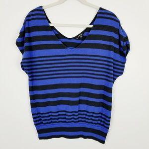 Express Blue/Black Striped Blouse Size M